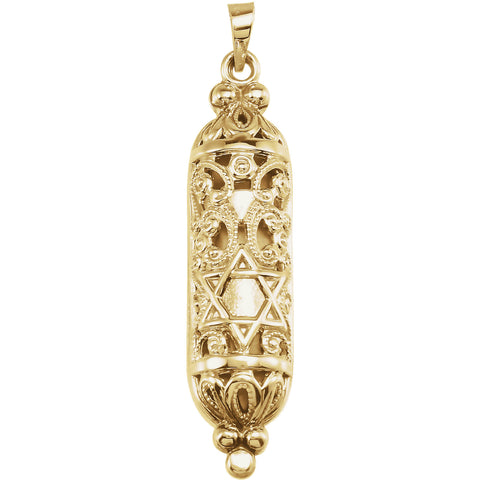 14K Yellow Gold Mezuzah Pendant
