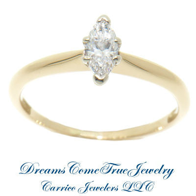 0.29 Carat Marquise Diamond Engagement Ring 14K Gold