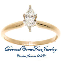 0.31 Carat Marquise Diamond Engagement Ring 14K Gold