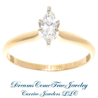 0.30 Carat Marquise Diamond Engagement Ring 14K Gold