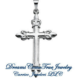 Sterling Silver Cross Pendant Fleur-de-lis 35 x 23mm