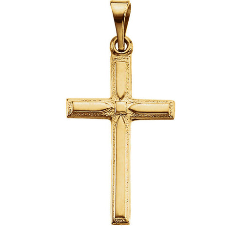 14K Yellow, White Gold or Platinum Cross Pendant 9 x 12.5mm