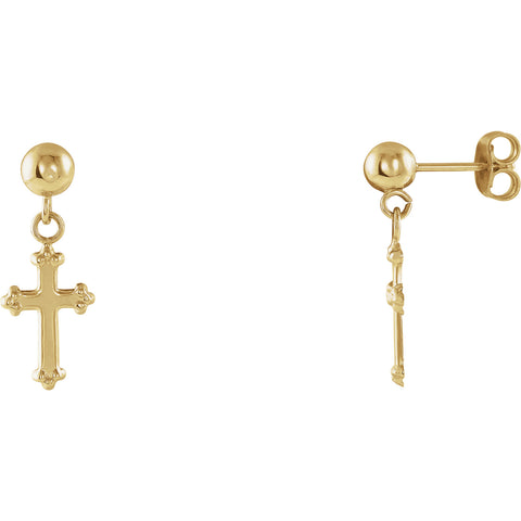 14K Gold Pair of Cross Ball Dangle Earring