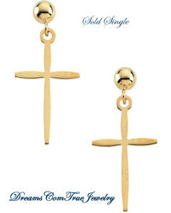 Cross Dangle Earrings 14K Yellow Gold