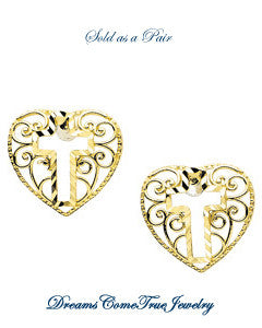 Cross Heart Earring 14K Yellow Gold (Pair)