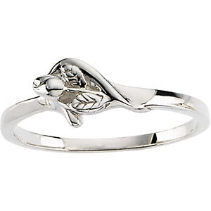 "Sterling Silver  ""Unblossomed Rose"" Chastity Ring"
