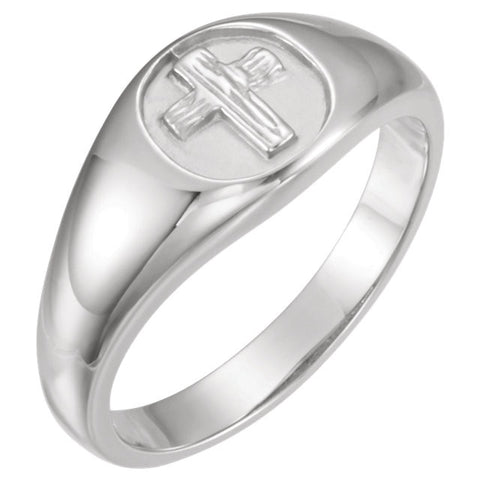 "14K, 10K Yellow or White Gold or Sterling Silver ""Rugged Cross"" Purity Ring"
