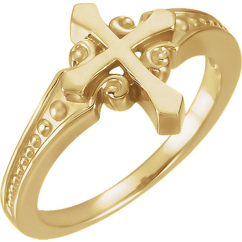 14K Gold or Sterling Silver Chastity Cross Ring
