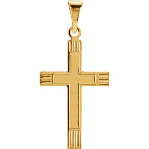 14K Yellow and White Gold Cross Pendant in 4 Sizes