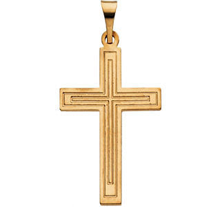 14K Yellow or White Gold Cross Pendant in 4 Sizes