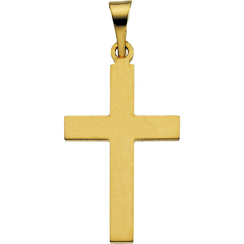 14K / 18K Yellow, White Gold or Silver Cross Pendant in 4 Sizes