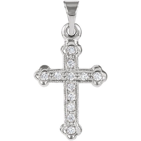14K Diamond Cross Pendant in White or Yellow Gold