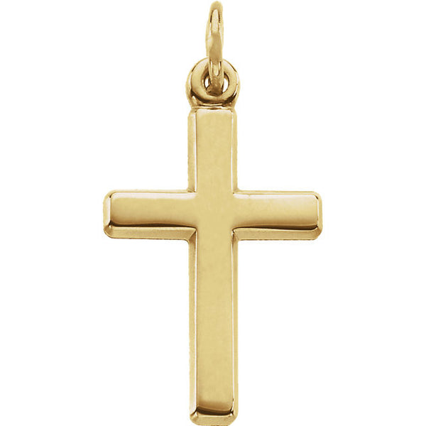 14K Yellow, White or Platinum Cross Pendant 16.5 x 12mm