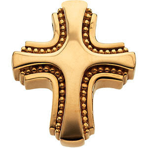 14K Yellow, White Gold or Silver Cross Slide Pendant 19.75 x 17mm