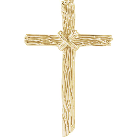 14K, 10K, 18K, White, Yellow Gold, Silver or Platinum Wood Grain Cross
