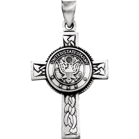 14K Yellow Gold or Silver U.S. Army Cross Pendant