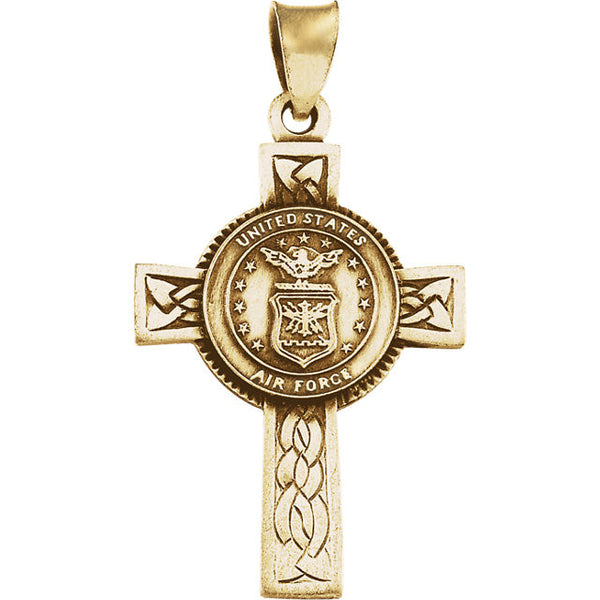 14K Yellow Gold or Silver U.S. Air Force Cross Pendant in Yellow Gold