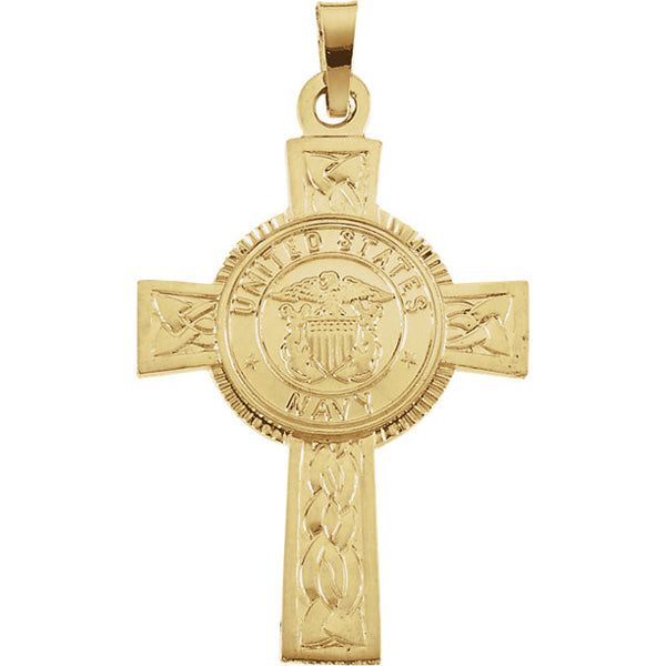 14K Yellow Gold or Silver U.S. Navy Cross Pendant