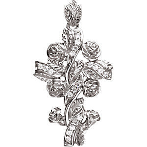 14K Yellow, White, Pink Gold Floral Hispanic Style Diamond Cross 17.5 x 10mm