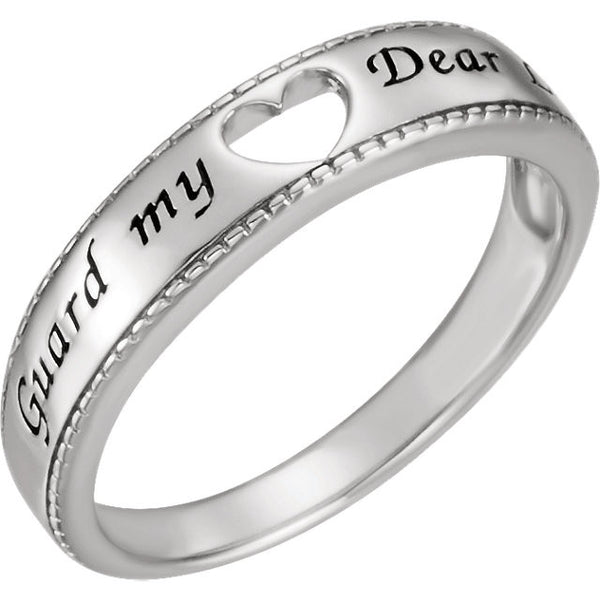 Chastity Ring Guard My Heart in Sterling Silver
