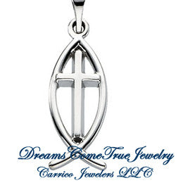 Sterling Silver Ichthus(Fish) & Cross Pendant in 3 Sizes