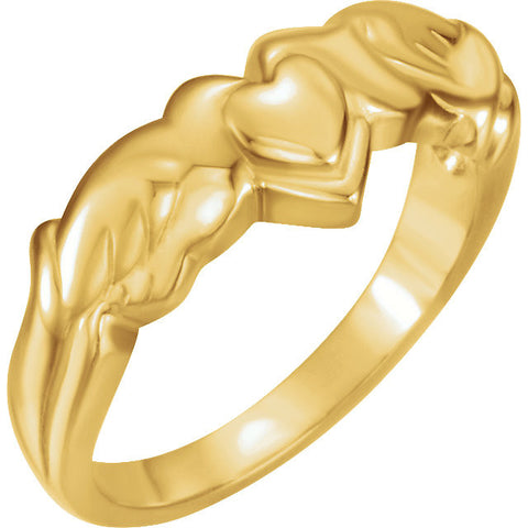 14K Heart Holy Spirit Ring in White or Yellow Gold