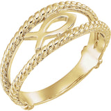 14K Gold or Sterling Silver Fish Purity Ring