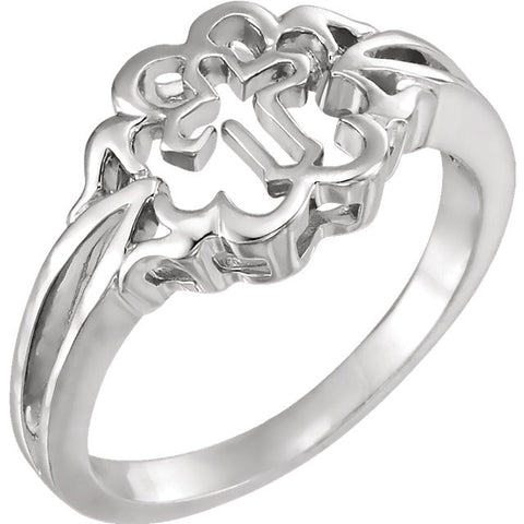Sterling Silver Cross Design Purity Ring