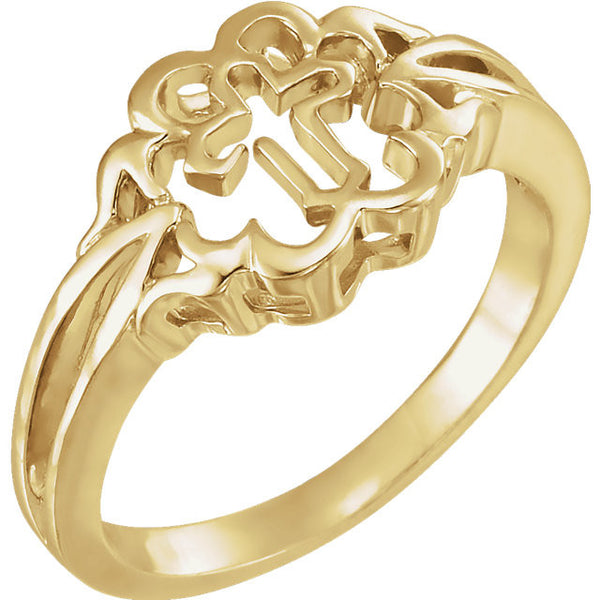 Purity Ring Cross Design 10K Yellow Gold