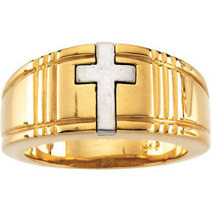 14K Gold Two Tone Cross Duo Band