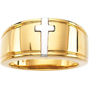 14K Cross Duo Band in Two Tone or White Gold Mens