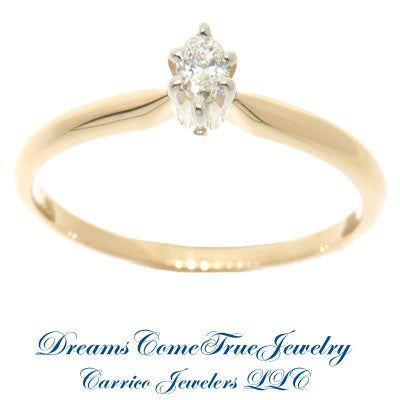 0.09 Carat Marquise Diamond Engagement Ring 14K Gold