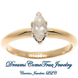 0.35 Carat Marquise 14K Gold Diamond Engagement Ring