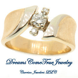 14K Gold Ladies Diamond Ring with Accents
