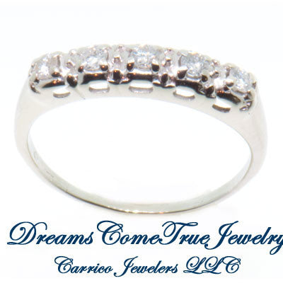 0.30 CTW 5 Diamond 14K White Gold Estate Band