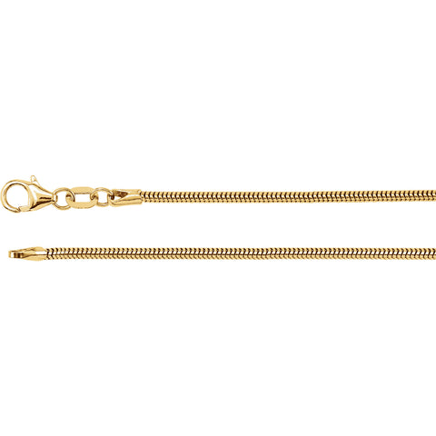 14K Yellow Solid Round Snake Chain 1.5mm Width