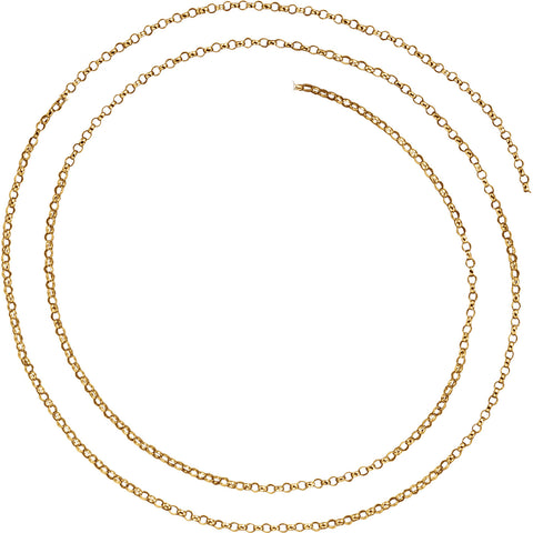 14K Hollow Gold 1.5mm Belcher Rolo Chain Spring Ring Closure