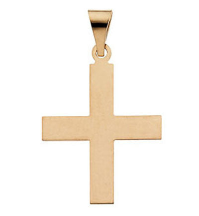 14K Greek Cross Pendant in 3 Sizes Smooth Design