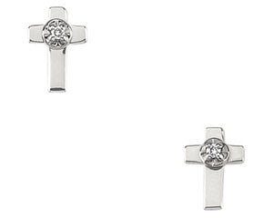 14K White Gold Diamond Cross Earring (Sold Single)