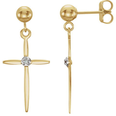 14K Gold Pair of 0.01 CTW Diamond Cross Earrings