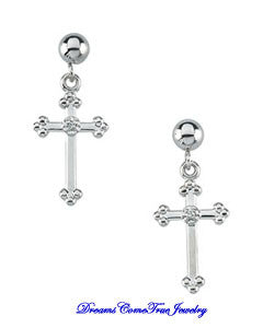 14K White Gold Pair Diamond Cross Dangle Earring