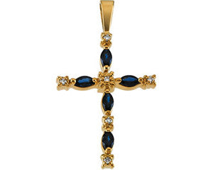 14K Yellow Gold Diamond and Sapphire Cross Pendant