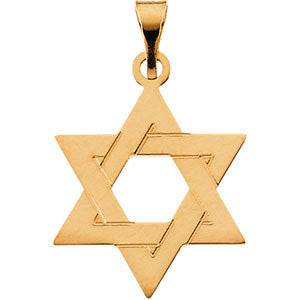 14K or 18K Star of David Pendant in White or Yellow Gold