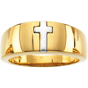 14K Cross Band in Two Tone or White Gold