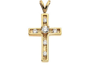 14K Yellow Gold Diamond Cross Pendant with Accent