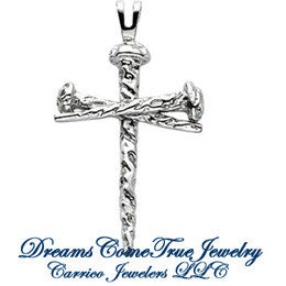 Sterling Silver Nail Design Cross Pendant in 3 Sizes