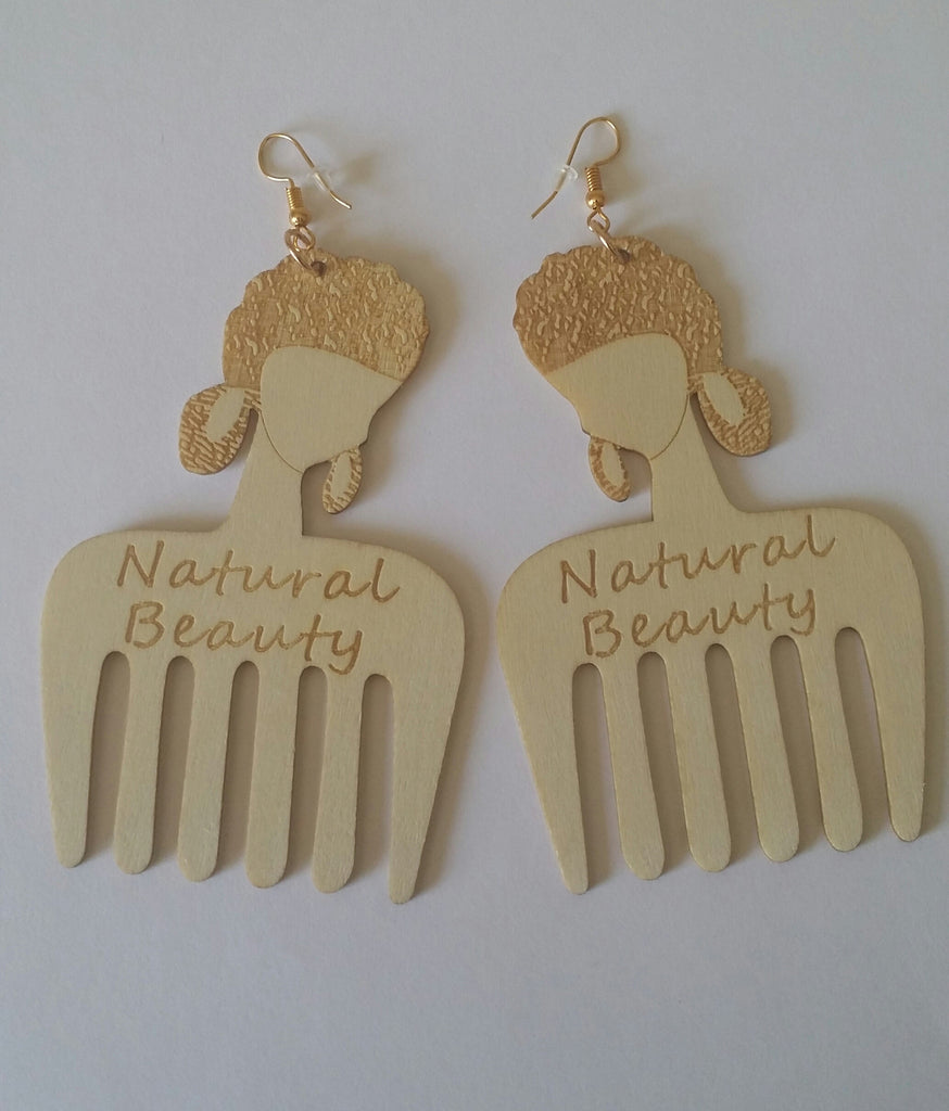 AFRO LASER CUT WOODEN EARRINGS