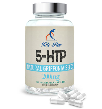 5-HTP Natural Griffonia Seeds Extract, 180 Vegetarian Vegan Capsules, 6 Month's Supply High Strength Supplement by Rite-Flex