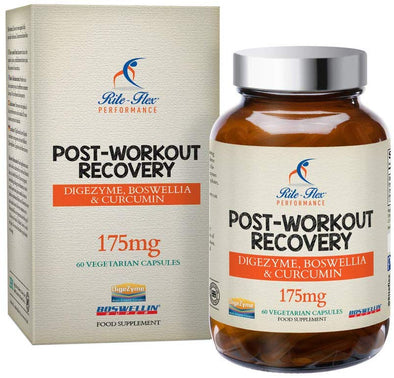Post Workout Recovery 175mg by Rite-Flex with DigeZyme®, Boswellin Super®, Curcumin C3 Complex® and BioPerine® - Powerful Recovery Formula - 60 Vegetarian Capsules – 2 Month Supply - Made in The UK
