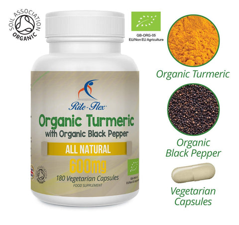 Certified Organic Turmeric 600mg with Certified Organic Black Pepper Extract 180 Capsules